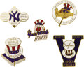 Baseball Collectibles:Others, 1953-58 World Series Press Pins (New York Yankees) Lot of 5. Gleaming mementos of the Mantle era. Careful collecting by ou...
