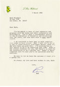 "Autographs:Authors, L. Ron Hubbard Typed Letter Signed, ""Ron"", one page on personal letterhead, 7"" x 10"", n.p., March 5, 1980, to Ruth Minsh... (Total: 1 Item)"