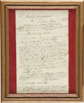 Autographs:Military Figures, Revolutionary War Document Pertaining to the Battle of Saratoga....