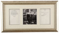 Autographs:U.S. Presidents, Two Richard Nixon Signed Documents Pertaining to His Resignation The first document is a bookplate printing of his August 8,...