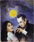 "Movie/TV Memorabilia:Original Art, Forrest J. Ackerman Vampire Painting. A 13"" x 17"" acrylic-on-boardpainting of a vampire and his next victim by noted sci-fi...(Total: 1 Item)"