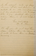 """Autographs:Military Figures, MAJOR MARCUS A. RENO AUTOGRAPH LETTER SIGNED - Lined paper, NewYork City, January 3, 1886, to the """"Editor Weekly Press""""...(Total: 1 Item)"""