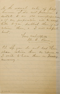 """MAJOR MARCUS A. RENO AUTOGRAPH LETTER SIGNED - Lined paper, New York City, January 3, 1886, to the """"Editor Weekly P..."""
