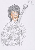 Music Memorabilia:Original Art, The Who - John Entwistle drawing of Rolling Stone Bill Wyman with Facial Studies....