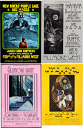 Music Memorabilia:Posters, Fillmore West Concert Poster Group (Bill Graham, 1969-71)....(Total: 4 Items)