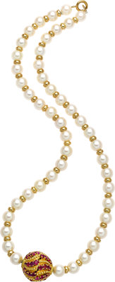 Cultured Pearl, Ruby, Gold Necklace, Van Cleef & Arpels