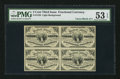 Fractional Currency:Third Issue, Block of Four Fr. 1226 3¢ Third Issue PMG About Uncirculated 53 EPQ.. ...