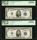Fr. 1651* $5 1934A Mule Silver Certificates. Two Examples. PCGS Graded