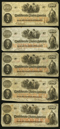 Confederate Notes:1862 Issues, T41 $100 1862, Five Examples.. ... (Total: 5 notes)