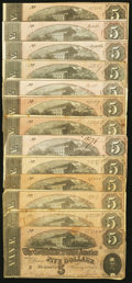 Confederate Notes:1864 Issues, T69 $5 1864, Thirteen Examples.. ... (Total: 13 notes)