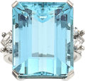 Estate Jewelry:Rings, Aquamarine, Diamond, Platinum Ring, circa 1950. ...