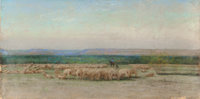 FRANK REAUGH (American, 1860-1945) Sheepherders Camp, 1893 Pastel on paper laid on canvas 20 x 40