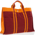 Luxury Accessories:Bags, Hermes Burgundy & Orange Limited Edition French Festival ofHawaii 2002 Canvas Fourre Tout MM Bag . Very GoodCondition...