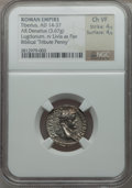 Ancients:Roman Imperial, Ancients: Tiberius (AD 14-37). AR denarius (3.67 gm). ...