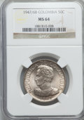 Colombia, Colombia: Republic 50 Centavos 1947/6-B MS64 NGC,...