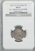 Colombia, Colombia: Republic 5 Pesos 1907-AM MS63 NGC,...