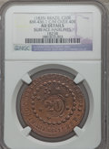 Brazil, Brazil: Pedro II Counterstamped 20 Reis  ND (1835) AU Details(Surface Hairlines) NGC,...