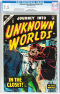 Golden Age (1938-1955):Horror, Journey Into Unknown Worlds #29 (Atlas, 1954) CGC VF- 7.5 Off-whiteto white pages....