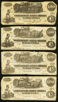 Confederate Notes:1862 Issues, T39 $100 1862, Four Examples.. ... (Total: 4 notes)