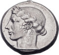 Ancients:Greek, Ancients: SICILY. Leontini. Ca. 440-430 BC. AR tetradrachm (26mm,17.19 gm, 11h). ...
