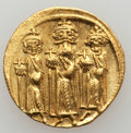 Ancients:Byzantine, Ancients: Heraclius (AD 610-641), with Heraclius Constantine andHeraclonas.  AV solidus (4.46 gm). ...