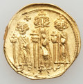 Ancients:Byzantine, Ancients: Heraclius (AD 610-641), with Heraclius Constantine andHeraclonas as Caesar. AV solidus (4.38 gm)...