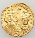 Ancients:Byzantine, Ancients: Constans II Pogonatus (AD 641-668), with Constantine IV. AV solidus (4.32 gm). ...