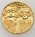 Ancients:Byzantine, Ancients: Constans II Pogonatus (AD 641-668), with Constantine IV, Heraclius and Tiberius. AV solidus (4.28 gm)....