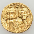 Ancients:Byzantine, Ancients: Constans II Pogonatus (AD 641-668), with Constantine IV,Heraclius and Tiberius. AV solidus (4.37 gm)....