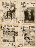 Books:Periodicals, [Illustrated Periodical] Four Issues of Le Frou-Frou. 1903. Original wrappers. Toned, with brittle pages. Tearin...