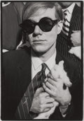 Photographs, JEAN-JACQUES BUGAT (French, b. 1948). Andy Warhol and Rabbit, Rue Princesse, 1966. Gelatin silver. 20 x 16 inches (50.8 ...