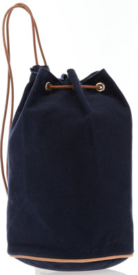 Hermes Natural Bridle Leather & Navy Blue Canvas Porotion Mimil Bag with Gold Hardware Excellent Condition<...
