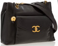 """Luxury Accessories:Bags, Chanel Black Lambskin Leather Shoulder Bag with Gold Hardware.Good Condition . 12"""" Width x 9"""" Height x 3"""" Depth, 16""""..."""