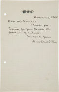 Autographs:Authors, Author Willa Cather Autograph Letter Signed...