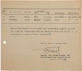Autographs:Non-American, General Erwin Rommel Document Signed...