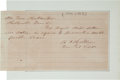 Autographs:Military Figures, Confederate General Benjamin Cheatham Autograph Note Signed...