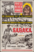 "Movie Posters:Adventure, Sabaka (United Artists, 1955). One Sheet (27"" X 41""). Adventure....."