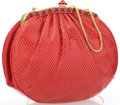 "Luxury Accessories:Bags, Judith Leiber Red Snakeskin & Crystal Evening Bag. ExcellentCondition. 7"" Width x 6"" Height x 2.5"" Depth, 19""Shoulde..."