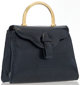 "Judith Leiber Navy Snakeskin Top Handle Bag Very Good Condition 7.5"" Width x 6"" Height x 2.5"" Depth This..."