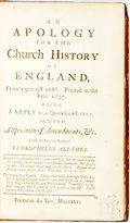 Books:Religion & Theology, [John Constable] Clerophilus Alethes. An Apology for the Church History of England. [N.p.], 1742. Contemporary calf ...