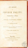 Books:Religion & Theology, Abel Stevens. An Essay on Church Polity. New York: Lane & Scott, 1850. Contemporary calf. Some scabbing to leather. ...