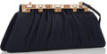 "Art Glass:Daum, Judith Leiber Navy Blue Satin Evening Bag. Excellent. 11""Width x5"" Height x 1.5"" Depth, 18"" Shoulder Drop. ..."