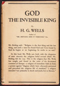 Books:Philosophy, H. G. Wells. God The Invisible King. New York: 1917....