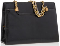 """Gucci Black Lizard Tote Bag With Gold Hardware Good Condition 8.5"""" Width x 6.5"""" Height x 3"""" Width"""