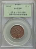 1853 1/2 C MS63 Brown PCGS. PCGS Population (176/212). NGC Census: (0/0). Mintage: 129,694. Numismedia Wsl. Price for pr...