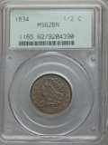 1834 1/2 C MS62 Brown PCGS. PCGS Population (52/168). NGC Census: (0/0). Mintage: 141,000. Numismedia Wsl. Price for pro...