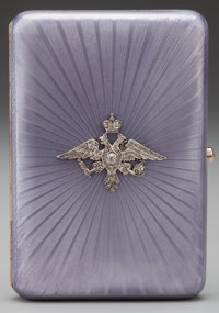 A FABERGE SILVER GILT, GUILLOCHE ENAMEL AND DIAMOND IMPERIAL PRESENTATION CIGARETTE CASE, Workmaster August Hollming