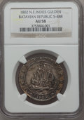 Netherlands East Indies, Netherlands East Indies: Batavian Republic Ship Gulden 1802 AU58NGC,...