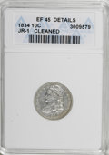 Bust Dimes, 1834 10C Small 4--Cleaned--ANACS. XF45 Details. JR-1. NGC Census: (5/209). PCGS Population (8/146). Mintage: 635,000. Numi...