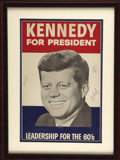 """Autographs:U.S. Presidents, John F. Kennedy, Robert F. Kennedy, and Edward M. (""""Ted"""") Kennedy Signed 1960 Presidential Campaign Poster..."""